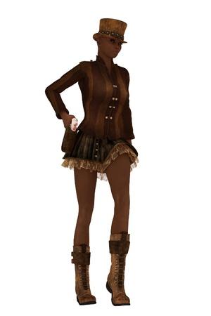underskirt: Dark skinned female in retro steampunk clothing drawing sidearm from holster