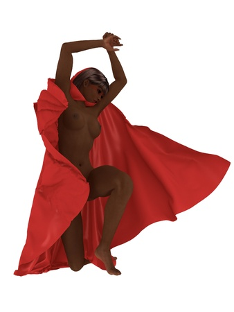 billowing: Dark skinned dancer nude except for billowing red satin cloak