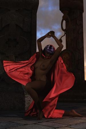 pezones: Dark piel desnuda bailarina excepto ondulante capa de satén rojo sobre pilares de piedra y cielo dramático