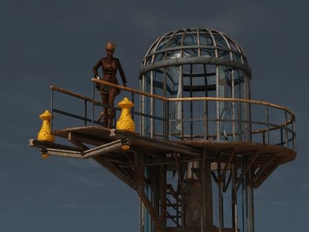 underskirt: Steampunk female guard on platform of airship docking tower