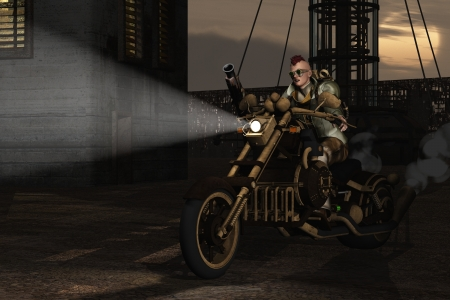 Steampunk biker drives through derelict surroundings at dusk under dirty industrial sky Stock Photo - 20950756