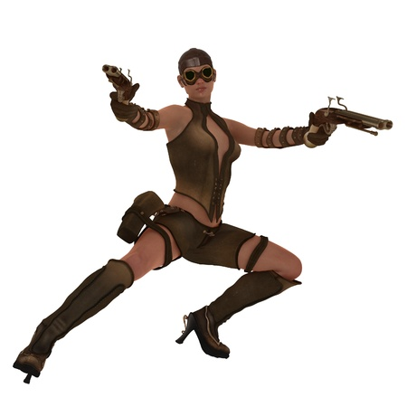 Steampunk female in action pose brandishing a pair of double barrelled flintlock pistols photo