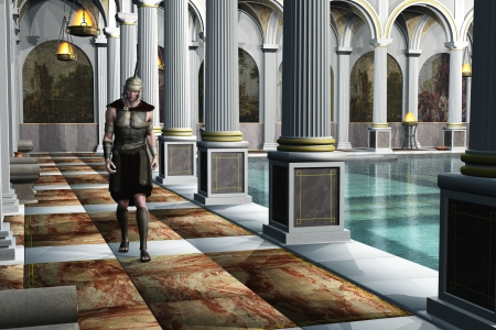 Uniformed Roman centurion walks beside the pool in ancient luxury baths