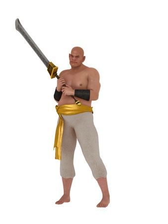 pot bellied: Hairless harem eunuch with big sword isolated on white
