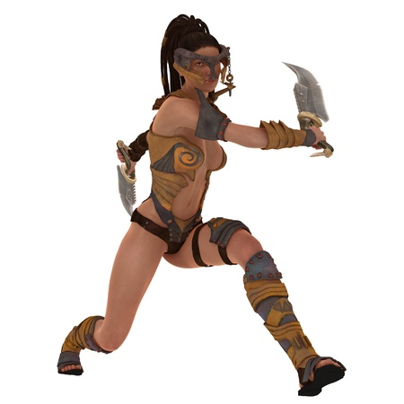skimpy: Rendered illustration of female warrior in skimpy body armour with twin cleavers