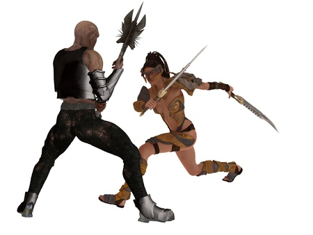 women fight: Fantasy female warrior with twin cleavers confronts mace wielding goblin Stock Photo