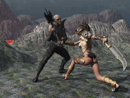 Fantasy female warrior with twin cleavers confronts wielding goblin in barren mountain setting under ominous black sky  Stock Photo