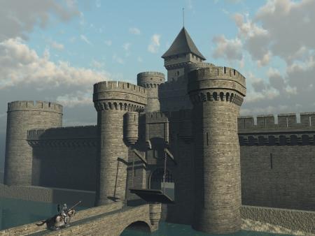 drawbridge: Castle drawbridge being lowered and portcullis raised to admit returning armoured knight on warhorse
