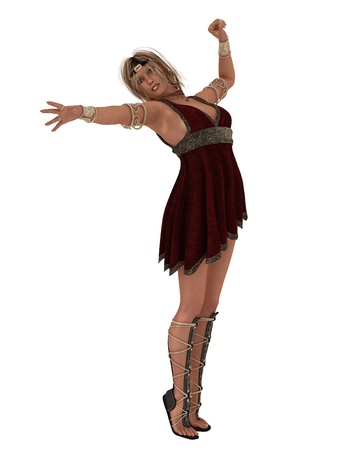 diosa griega: Mujer en traje de estilo griego antiguo corta con diadema y joyas como diosa griega o Helena de Troya Foto de archivo