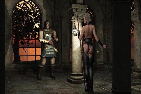 army girl: Fantasy rendered images of woman in skimpy black leather tunic and leggings carrying oil lamp on pole to illuminate the assassin waiting in the shadows