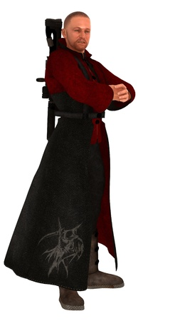 scifi: Fantasy or science fiction military figure in red bolero and long robe with rifle in back mounted harness