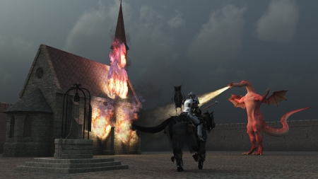 lowers: A lone mounted knight lowers his lance to charge huge dragon spouting flame at church inside the castle walls