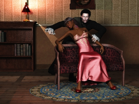 3d vampire: Elegant African victim with bruised neck and bleeding wounds in faint with snarling pale male vampire in period clothing  Stock Photo