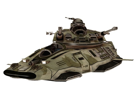 fantasy fiction: Science fiction armoured antigravity attack vehicle with gun turrets and missiles isolated on white Stock Photo