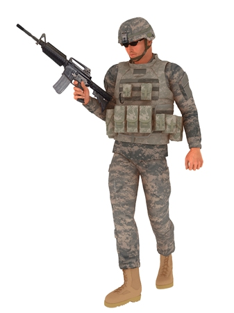 infantryman: Modern soldier in combat uniform complete with helmet webbing and body armour carrying automatic weapon