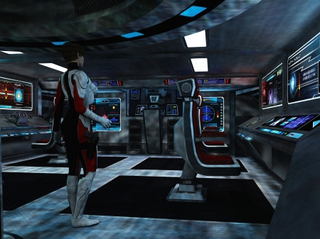 Woman in futuristic body armour with holstered sidearm in dimly lit room with various displays as in a command centre or starship bridge Stock Photo