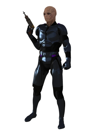 Isolated render depicting alien soldier in body armor and holding classic raygun or blaster