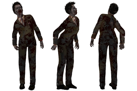 Isolated front side and rear views of blood spattered zombie in dirty and torn business suit Stock Photo