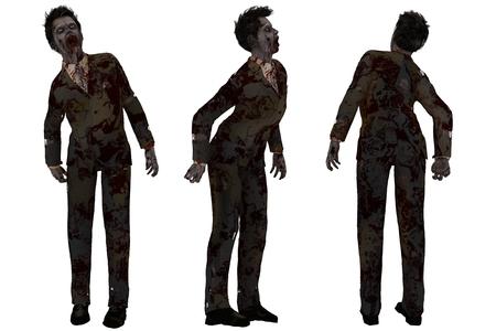 spattered: Parte frontal y trasera aislada de sangre salpicaron zombie en traje sucio y desgarrado Foto de archivo