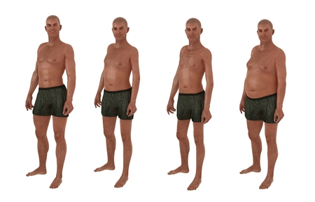 fat and slim: A set of four images illustrating the same male figure pose and underwear but with a muscular average thin and overweight body shape Stock Photo