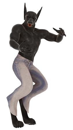 wilkołak: Renderowane warcząc postać wilkołaka noszenia niebieski dżins z bronią przedłużony