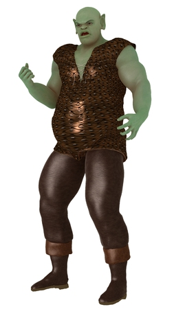 surly: Large green ogre in scaled tunic and leather trousers with surly expression