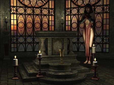 vetrate colorate: Fantasy a lume di candela scena tempio con sacerdotessa donna vicino all'altare e la luce del sole dorato splende attraverso le vetrate