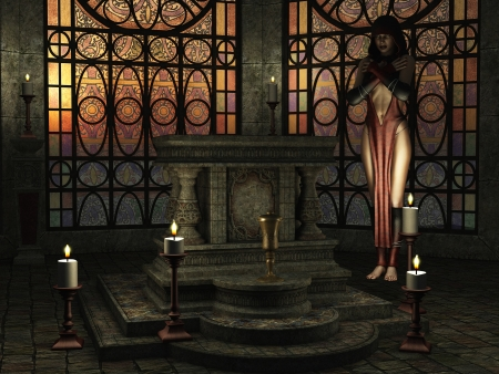 Fantasy candlelit temple scene with female priestess near altar and golden sunlight shining through stained glass windows
