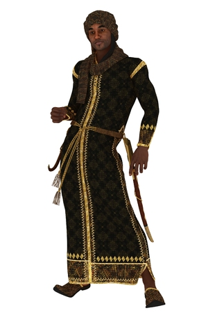 dark skinned: Fantasy arabian nights figure in long robes and turban with sheathed scimitar and dagger