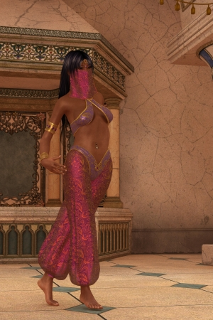 Veiled woman in Arabian nights harem costume walking in marbled palace Stock Photo