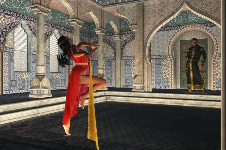 slave girl: Dark skinned exotic dancer in ornate Arabian palace watched by prince in robes and turban