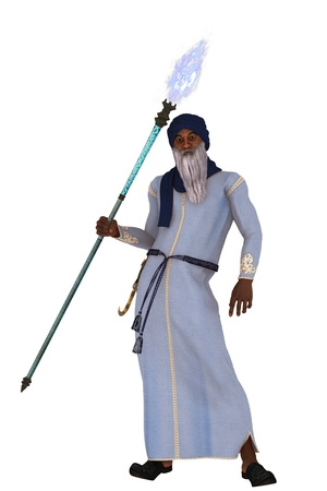 rendered: Elderly arabian nights vizier with long white beard wearing long robes and turban carrying flaming magic staff Stock Photo