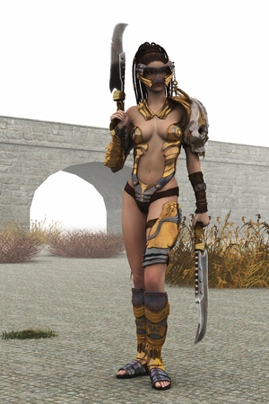 female warrior: Warrior armed with twin cleavers with armour and face guard stands ready for action Stock Photo