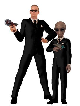 ufo conspiracy theory: Two men in black one human with sunglasses and the other alien both wearing identical black suits and neckties with white shirts and carrying ray guns Stock Photo