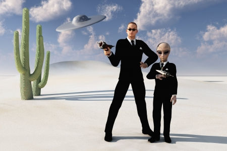 ufo conspiracy theory: Two men in black one human with sunglasses and the other alien both wearing identical black suits and neckties with white shirts and carrying ray guns desert scene with flying sauce overhead