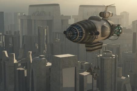 広大な都市ファンタジー スチーム パンク飛行船