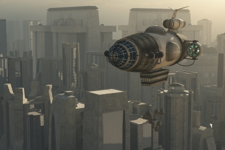 Fantasy steampunk airship over sprawling city Stock Photo