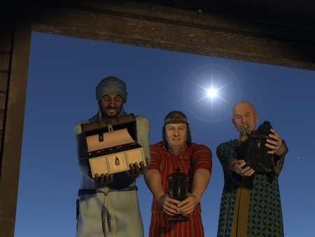myrrh: The magi bearing gifts of gold frankincense and myrrh at the stable with the star of Bethlehem overhead Stock Photo