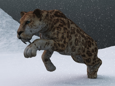 Ice age sabre toothed tiger prowling through snow storm on frozen tundra