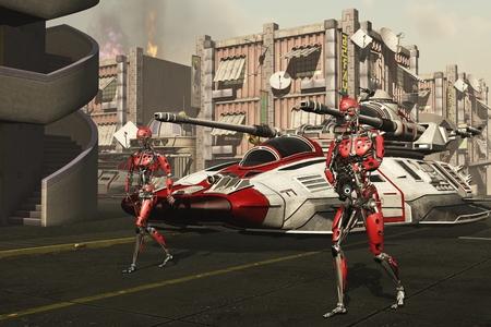 proceeds: Soldados Cyborg preceden Hover Tanks como fuerza invasora avanza a trav�s de las calles de la ciudad dist�pica