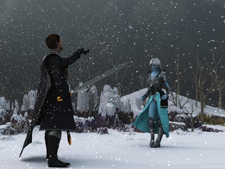 encounters: Warrior in black clothing encounters blue skinned ice queen in desolate winter setting during blizzard