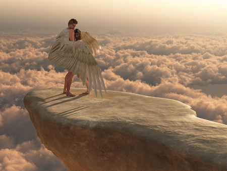 fantasy girl: Male angel protectively envelops female companion in his wings on a promontory high above the clouds
