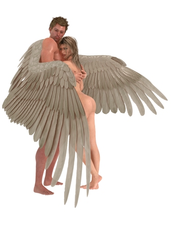 Male angel protectively envelops female companion in his wings isolated on white