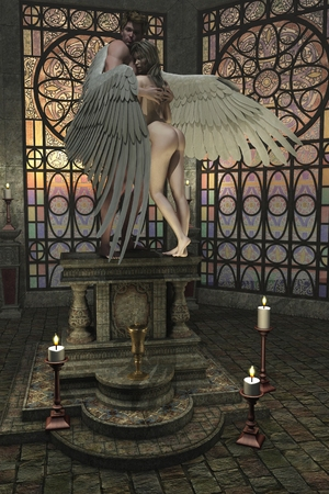 envelops: Male angel protectively envelops female companion in his wings on altar in a church or temple setting
