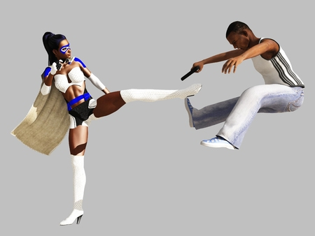 mugger: Black female superhero in white costume defeats armed mugger Stock Photo