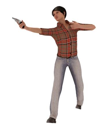 brandishing: Young woman in denim jeans wielding revolver