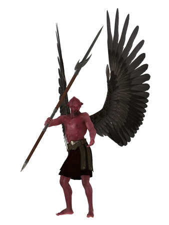 fallen angel: Demon with red skin and black wings with trident like pole weapon isolated on white