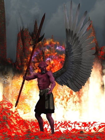 Demon with red skin and black wings in fire and brimstone photo
