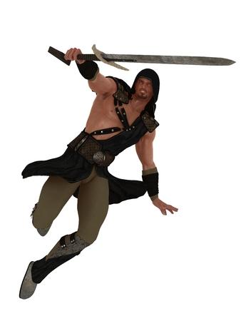 védekező: Fantasy harcos figura karddal védekező parrying helyzetben, elszigetelt, fehér