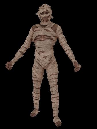 egyptian mummy: Egyptian mummy swathed in bandages isolated on black
